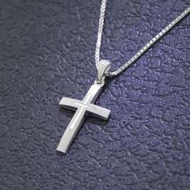 trendor 79602 Kids Silver Cross with Chain
