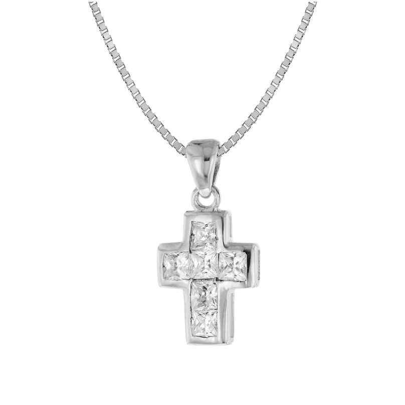 trendor 35908 Halskette mit Kreuz-Anhänger Silber 925 Zirkonia 4260435359081