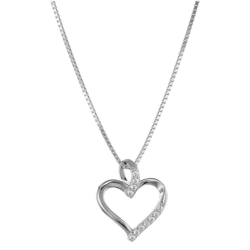 trendor 35931 Silber Anhänger Herz mit Kette 4260435359319
