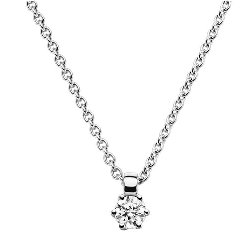 trendor 532526 Diamant-Anhänger 0,10 mit Halskette Weißgold 585/14K 4006025325261