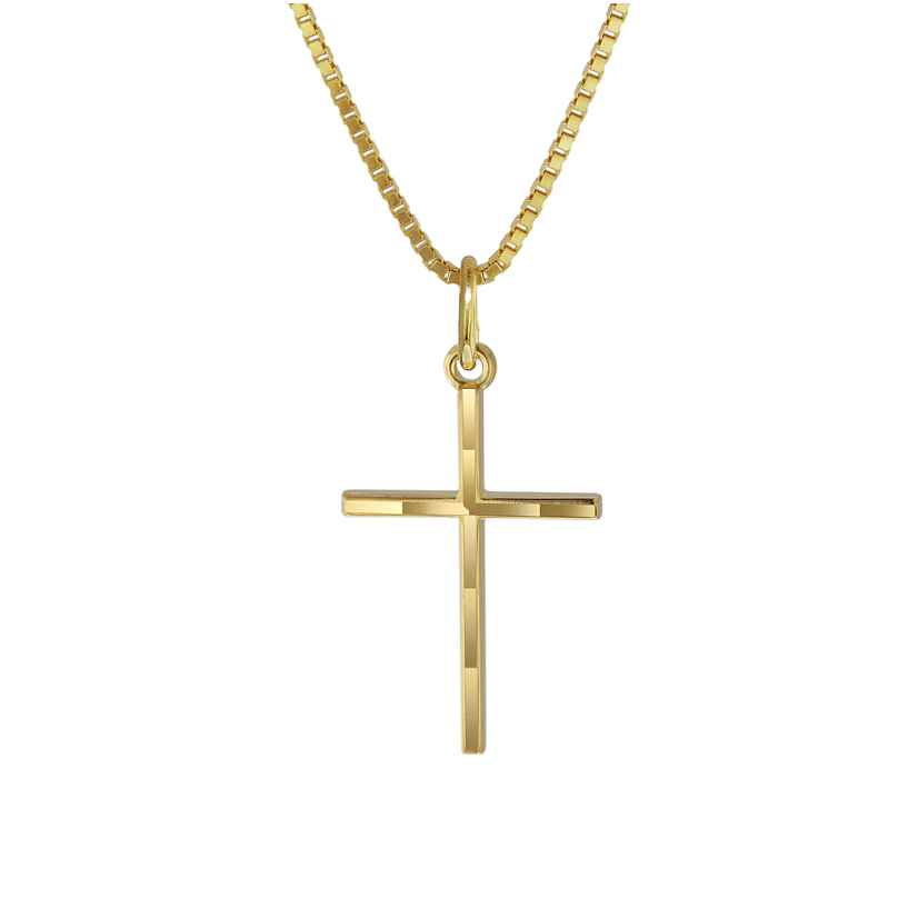 trendor 08492 Cross Pendant Gold 333/8K with Gold Plated Necklace