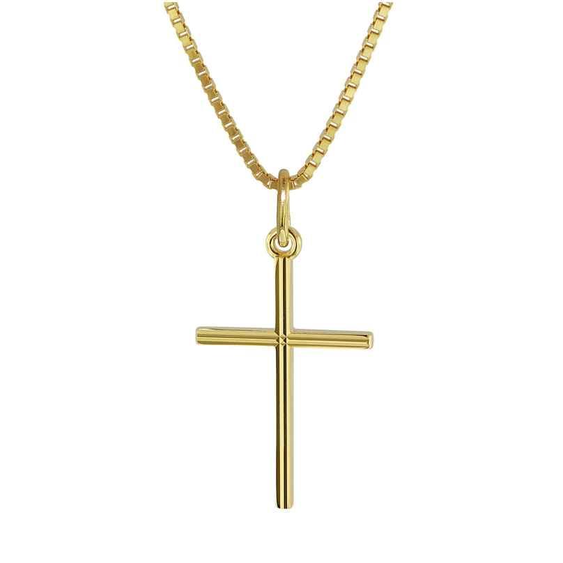 trendor 08496 Kreuz-Anhänger Gold 333 mit goldplattierter Halskette für Kinder