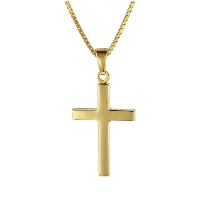 trendor 08500 Kreuz Gold 333 mit goldplattierter Venezianer Kette