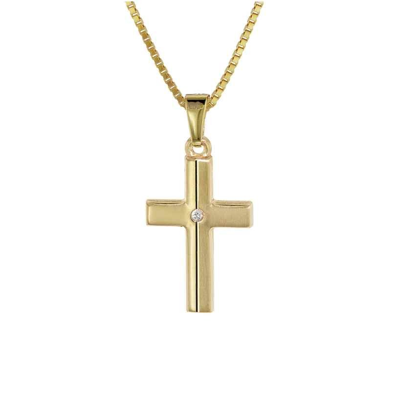 trendor 08516 Kinder Kreuz Gold 333 mit Zirkonia und goldplattierte Kette
