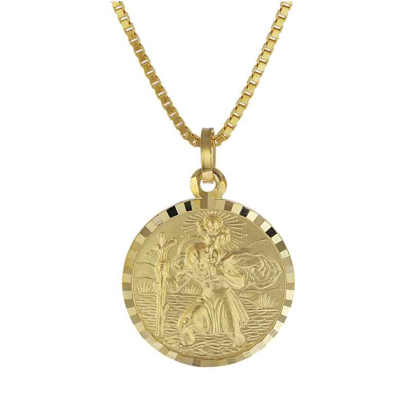 trendor 08520 Christophorus Anhänger Gold 333 mit plattierter Herren-Halskette