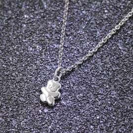 trendor 08471 Kinder-Halskette mit Teddy-Anhänger 925 Silber