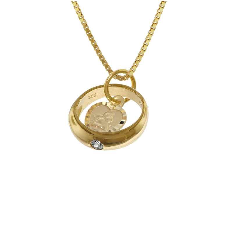 trendor 08561 Taufring mit Engelherz Gold 333 an goldplattierter Halskette