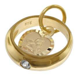 trendor 08561 Christening Ring Angel Heart Gold 333 with Gold Plated Necklace