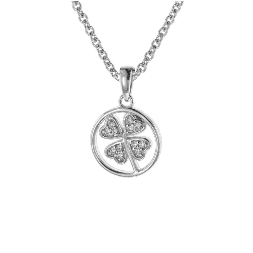 trendor 08809 Kleeblatt Anhänger mit Halskette für Kinder Silber 925 4260497088097