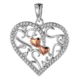 trendor 08812 Herz-Anhänger mit Kette für Damen Silber 925 Bicolor