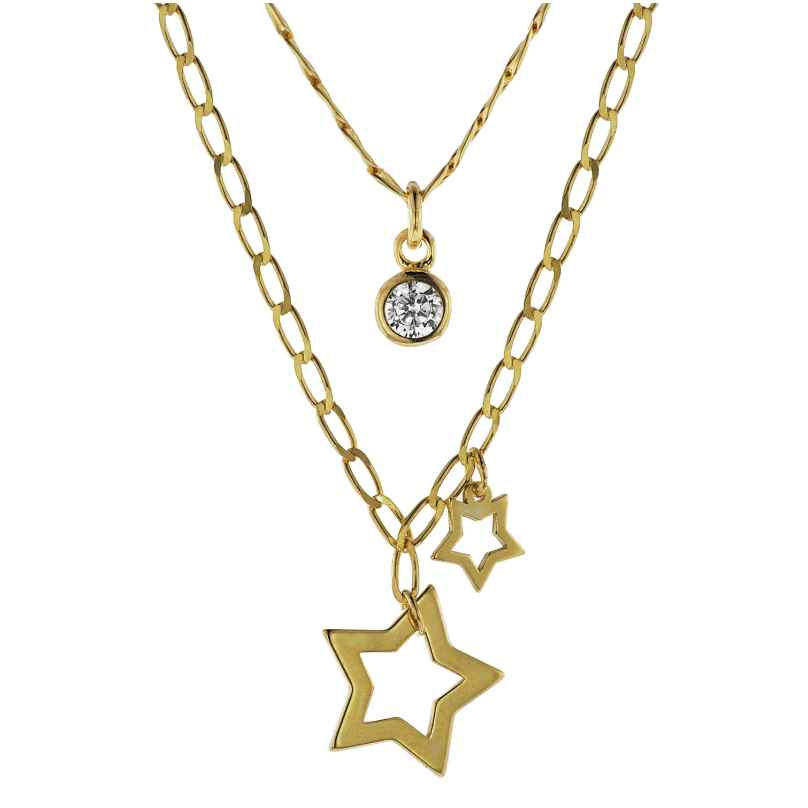 trendor 08998 Silver Necklace with Pendants Gold-Plated 4260497089988
