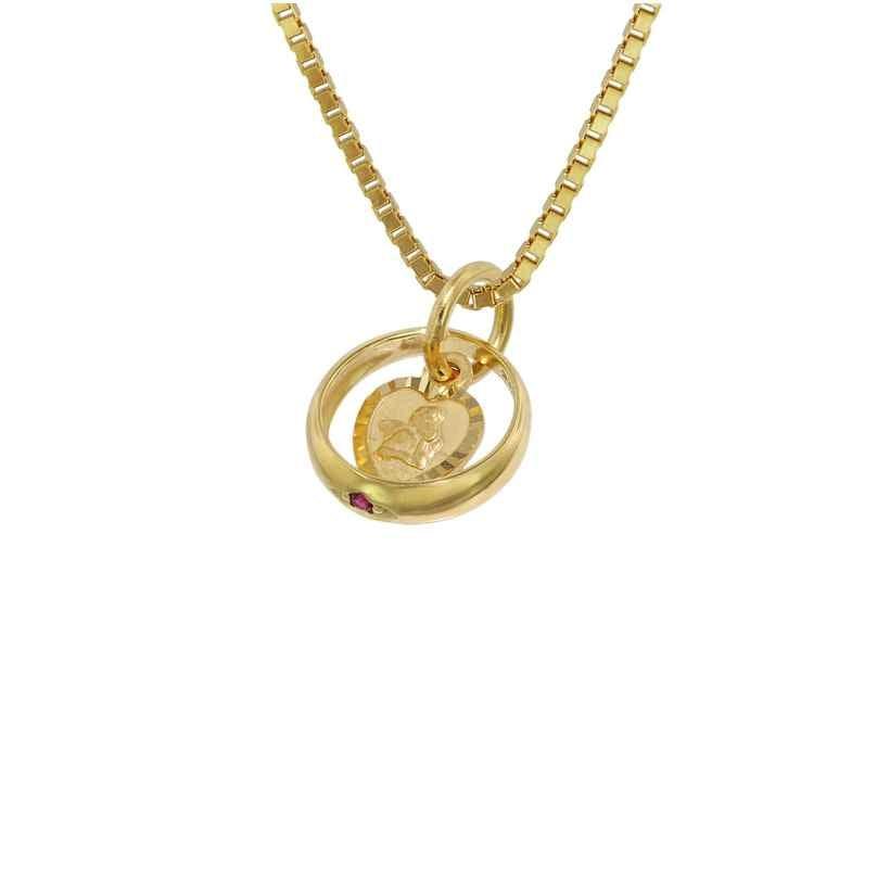 trendor 75119 Taufring Rubin Amorherz Gold 585 an goldplattierter Halskette 4260641751198