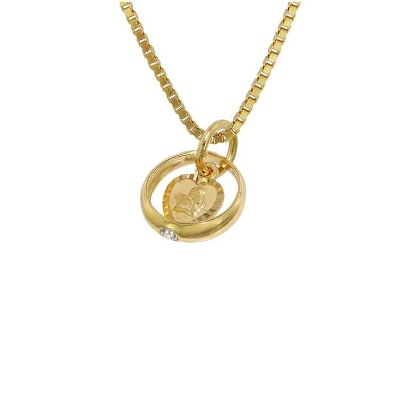 trendor 75120 Cupid Heart Baptism Ring Gold 585 14 ct + Gold-Plated Necklace