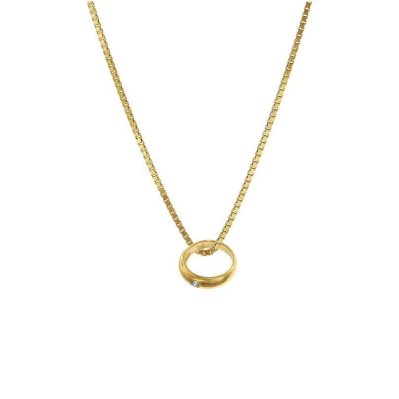 trendor 75121 Taufring mit Zirkonia Gold 585 an goldplattierter Kette 42/40 cm 4260641751211