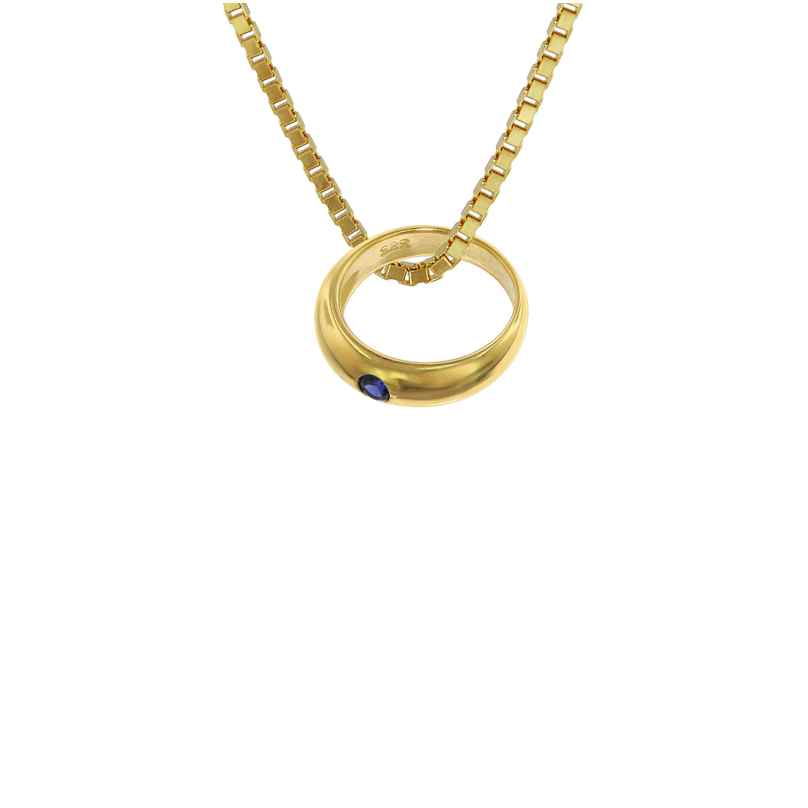 trendor 75122 Christening Ring Gold 585 on Gold Plated Necklace 42/40 cm 4260641751228