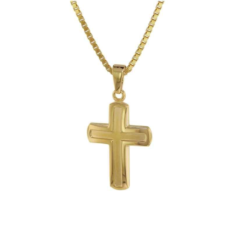 trendor 75224 Anhänger Kreuz 20 mm Gold 333 (8 Kt.) mit plattierter Halskette 4260641752249