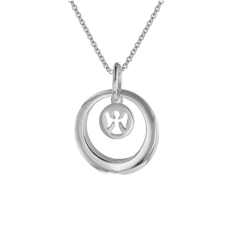 trendor 75229 Halskette mit Taufring und Engelchen Kinderschmuck 925 Silber 4260641752294