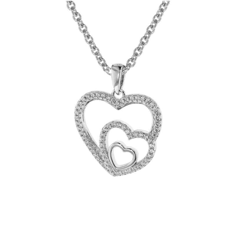 trendor 75261 Damen-Halskette Silber 925 mit Anhänger Herzen in Herz 4260641752614