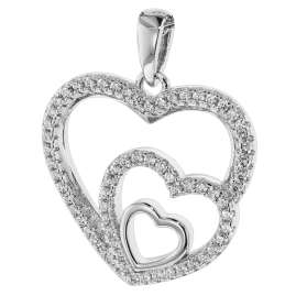 trendor 75261 Ladies Necklace Silver 925 with Pendant Hearts in Heart