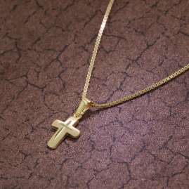 trendor 75273 Cross Pendant for Kids Gold 585 (14 ct.) + Gold-Plated Necklace