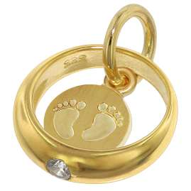 trendor 75395 Christening Ring Baby Feet Gold 585 / 14K with Gold Plated Chain