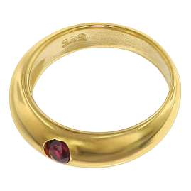 trendor 75401 Christening Ring Ruby Gold 585 / 14K with Gold Plated Necklace
