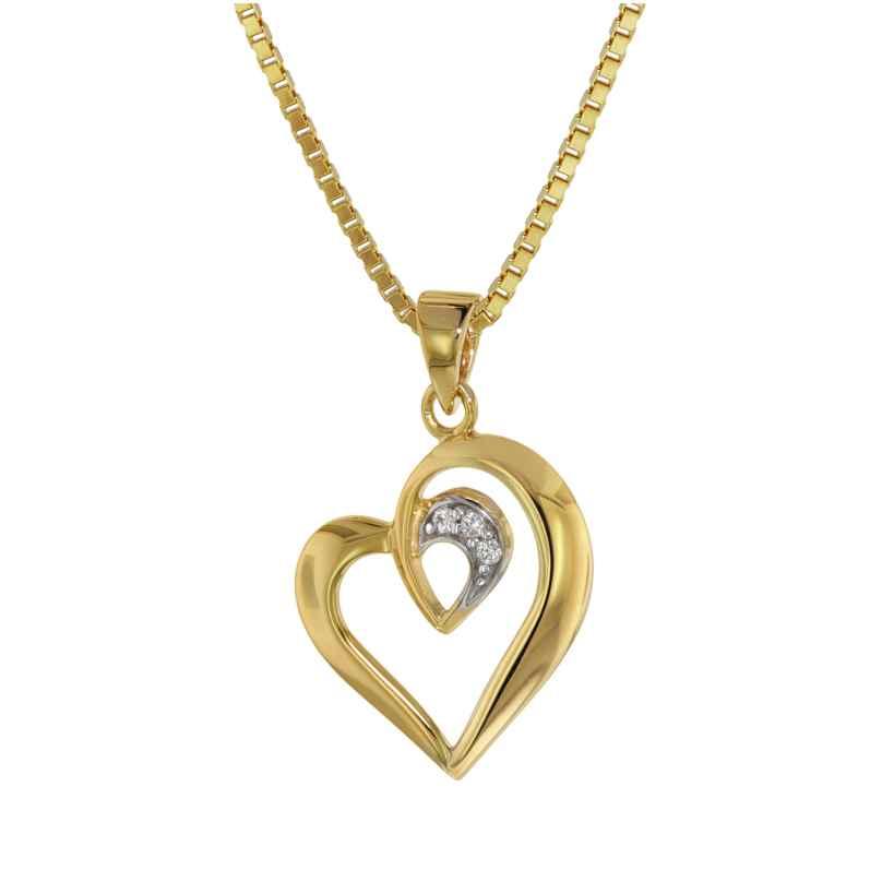 trendor 75404 Anhänger Herz Gold 585 / 14 K an vergoldeter Silberkette