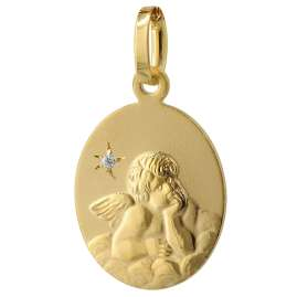 trendor 75409 Angel Pendant Diamond Gold 585 / 14K with Gold Pated Necklace
