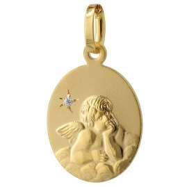 trendor 75409 Engel-Anhänger Diamant Gold 585 / 14 Karat mit plattierter Kette