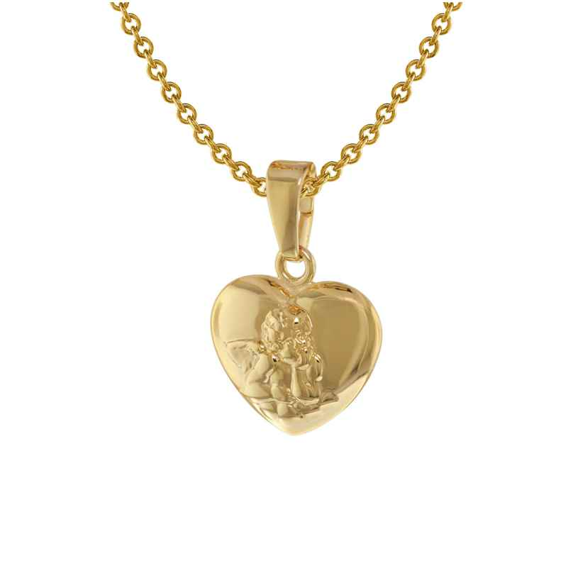 trendor 75411 Kid's Angel Heart Pendant Gold 585 14K with Gold Plated Necklace