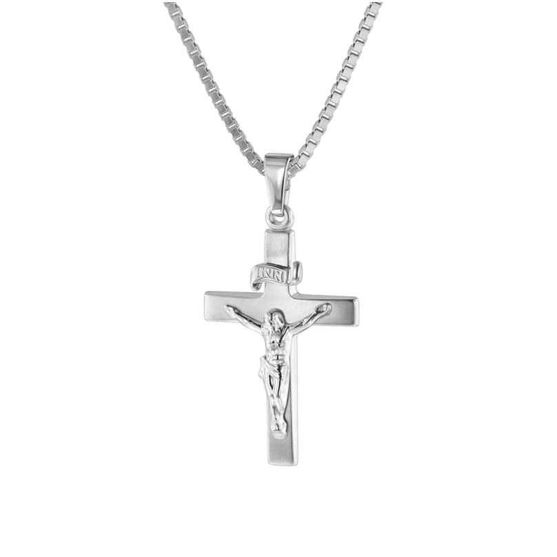 trendor 75424 Crucifix Pendant 24 mm White Gold 585 / 14K with Silver Necklace