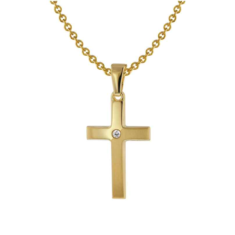 trendor 75426 Kreuz-Anhänger Gold 333 / 8 Karat mit vergoldeter Halskette