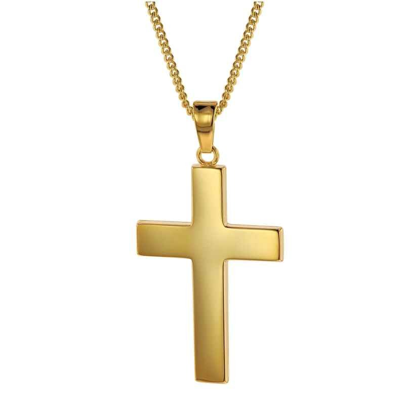 trendor 75433 Kreuz für Männer 27 mm Gold 333 / 8K mit plattierter Halskette