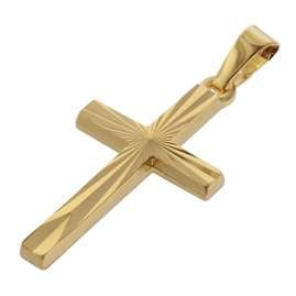 trendor 75438 Cross Pendant Gold 750 / 18K with Gold Plated Necklace