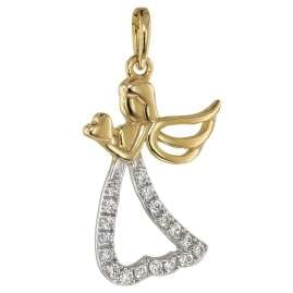 trendor 75458 Angel Pendant 19 Diamonds Gold 585/14K with Gold Plated Necklace