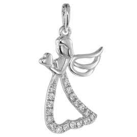 trendor 75462 Engel-Anhänger mit 19 Diamanten Weißgold 585 mit Silberkette