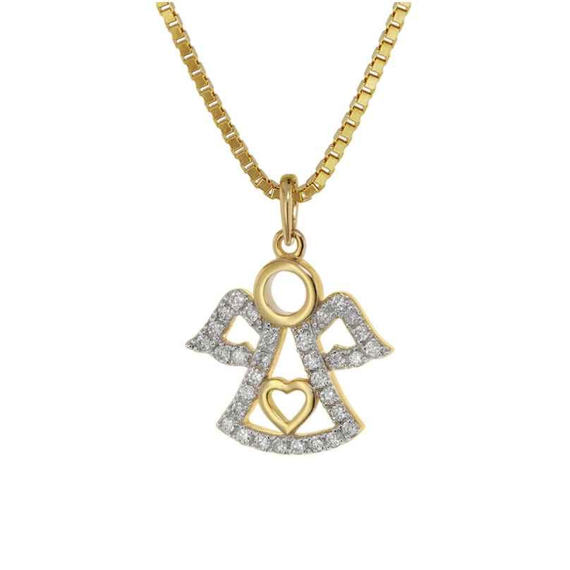 trendor 75472 Engel-Anhänger mit Diamanten Gold 585 / 14K an vergoldeter Kette
