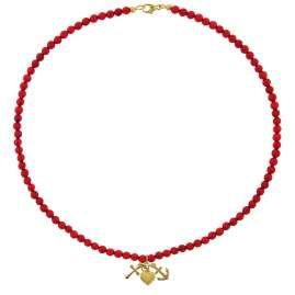 trendor 75533 Necklace for Girls Bamboo Coral Red with Gold Pendant