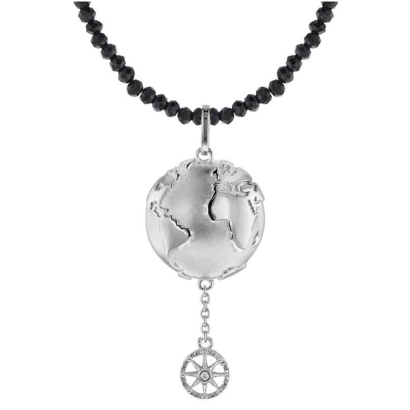 trendor 75500 Anhänger Planet Erde Silber 925 + Spinell-Kette Schwarz 4260641755004