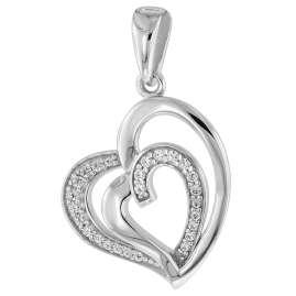 trendor 75504 Halskette mit Anhänger Herz in Herz Silber 925