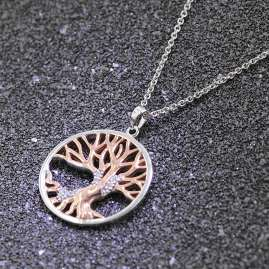 trendor 75514 Tree of Life Pendant Necklace Silver 925