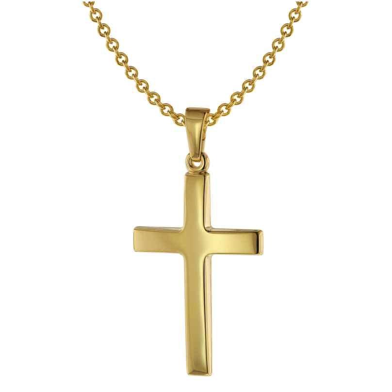 trendor 75543 Kreuz-Anhänger 24 mm Gold 585 + Silberkette goldplattiert 4260641755431