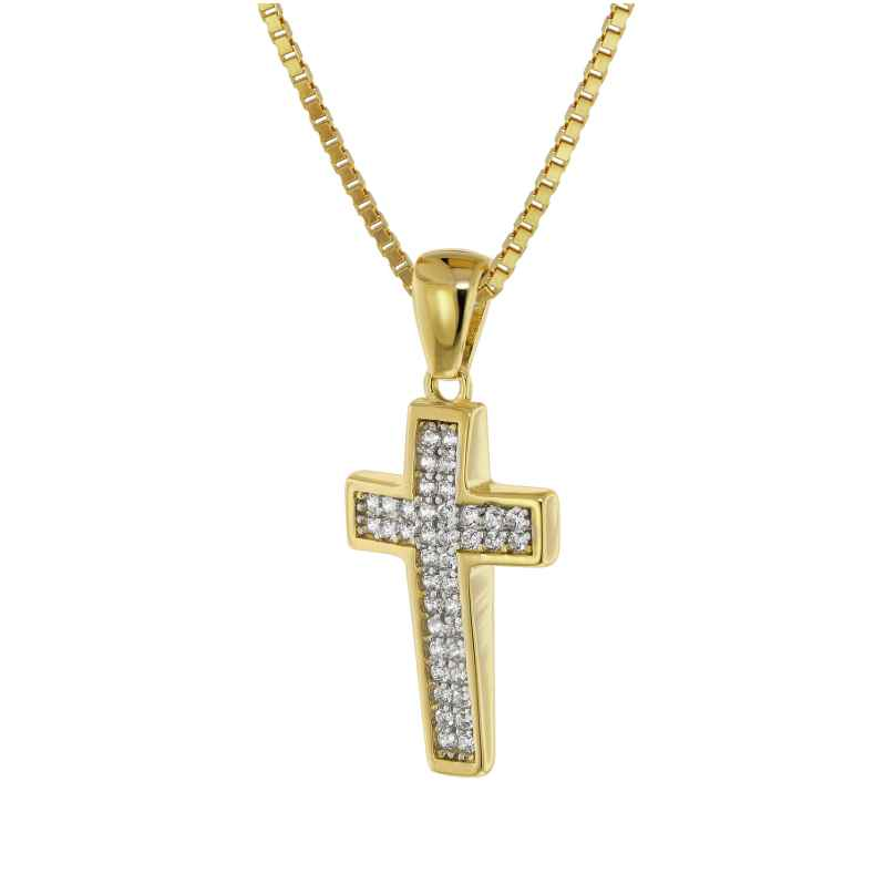 trendor 75562 Cross Pendant Gold 333 / 8 carat + Gold Plated Silver Necklace 4260641755622