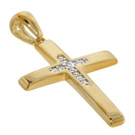 trendor 75564 Cross Pendant Gold 333 / 8 carat + Gold Plated Silver Necklace