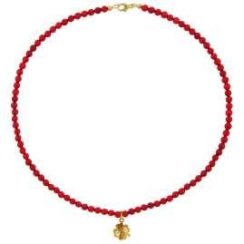 trendor 75608 Halskette für Mädchen Rote Bambuskoralle mit Kleeblatt Gold 333