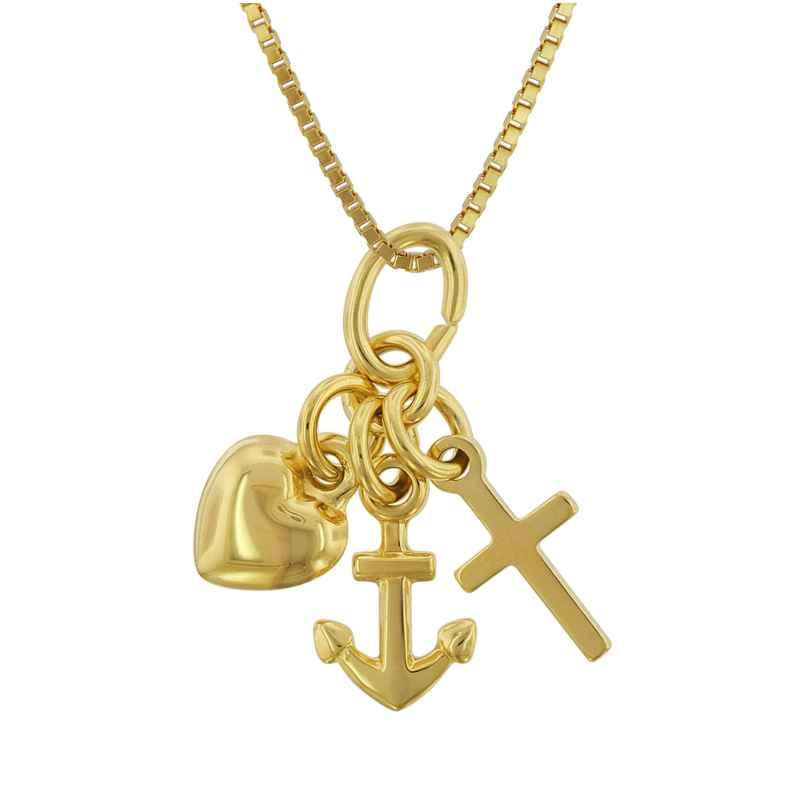 trendor 75625 Kinderkette mit Anhänger Glaube-Liebe-Hoffnung Gold 333 4260641756254