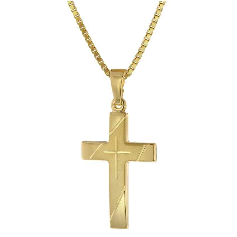 trendor 75676 Kreuz Anhänger Gold 333 mit goldplattierter Silberkette