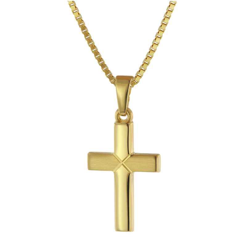 trendor 75680 Kreuz-Anhänger für Kinder Gold 333 mit goldplattierte Halskette