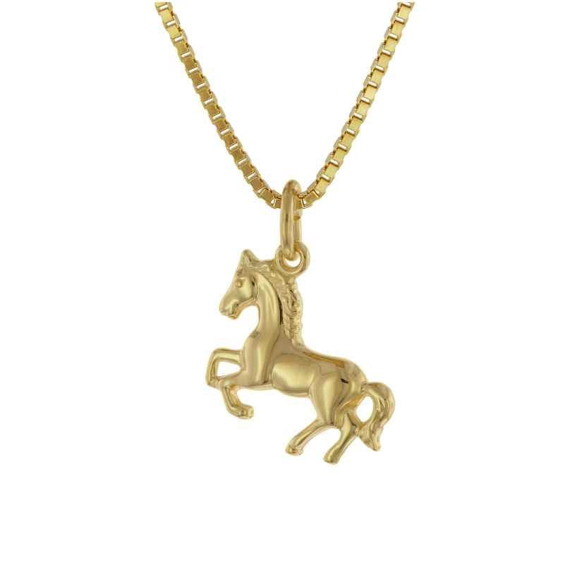 trendor 75715 Mädchen-Halskette mit Pferdchen Gold auf Silber 925 4260641757152