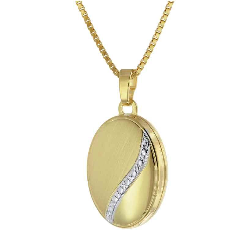 trendor 75777 Medaillon-Anhänger 333 Gold (8 Karat) + vergoldete Halskette 4260641757770